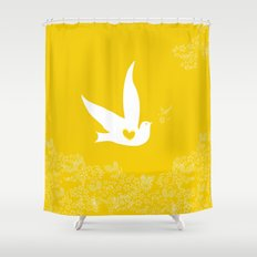 Love and Freedom - Gold/Yellow Shower Curtain