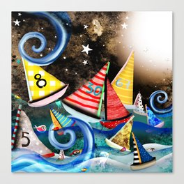 Night Sailing - Aurora Art Moonlight Stars Night Canvas Print