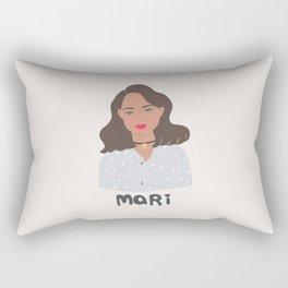I am MARI, girly illustration, portrait, girl art print Rectangular Pillow