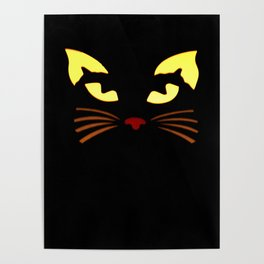 Black Cat at Night Poster