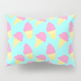Pink Ice Cream on Blue Pillow Sham