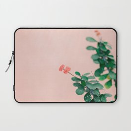 Floral photography print   Green on coral   Botanical photo art Laptop Sleeve
