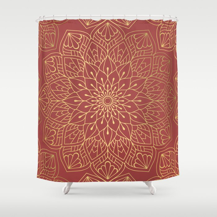Gold Mandala Pattern On Cherry Red Shower Curtain by victorys | Society6