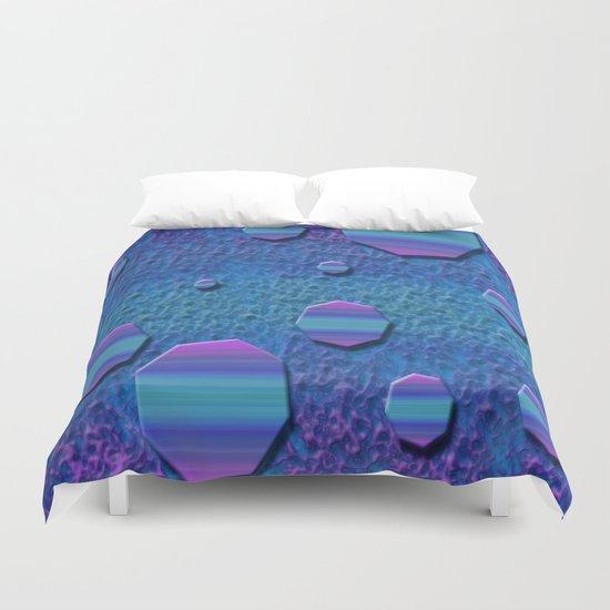 Celestial Octagon Orbs of Planet Neptune Duvet Cover