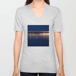 The River Tay at night Dundee Unisex V-Neck