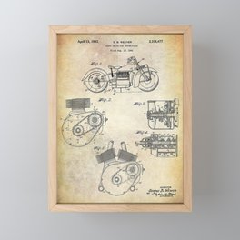1943 Paper Indian Motor Company Drive Shaft for Motorcycles Patent Framed Mini Art Print