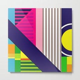 Modern Vibrant Geometric Pattern #2 Asst Stripes and Bars Metal Print