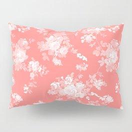 Vintage elegant coral white bohemian floral Pillow Sham