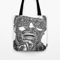 stevie nicks Tote Bags featuring Stevie Wonder by Travis Poston