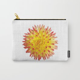 A Yellow Dahlia with Pink tips on a transparent background Carry-All Pouch