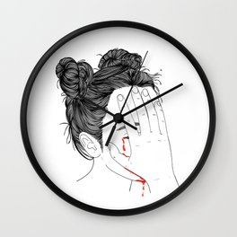 This girl is embarrassed off her face Wall Clock