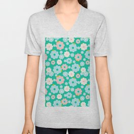 Small blue, white and pink flowers over a turquoise background Unisex V-Neck