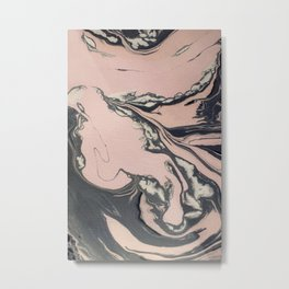 Pink and black marbled paper Metal Print