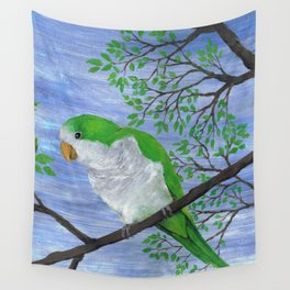 A painting of a quaker parrot Wall Tapestry