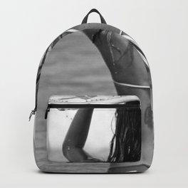 Little Italian Surfer Girl beach black and white surfing photograph Backpack