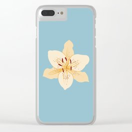 Day Lily Illustrative Art on Light Blue Clear iPhone Case