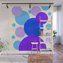 Blue and Purple Dot Compostion on light yellow background  Wall Mural