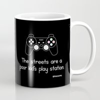 playstation Mugs featuring PlayStation (Black) by Mokokoma Mokhonoana