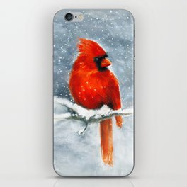 Northern Cardinal in the snow iPhone Skin