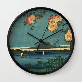Ukiyo-e, The Grove at the Suijin Shrine Wall Clock