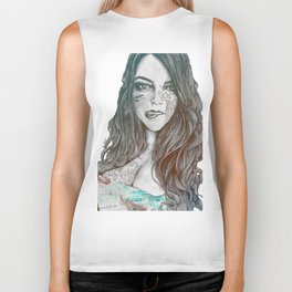 U-Turn: Rainbow (mandala tattooed woman, drawing portrait) Biker Tank