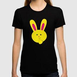 One Tooth Rabbit Emoticons Shushing Bunny Face T-shirt