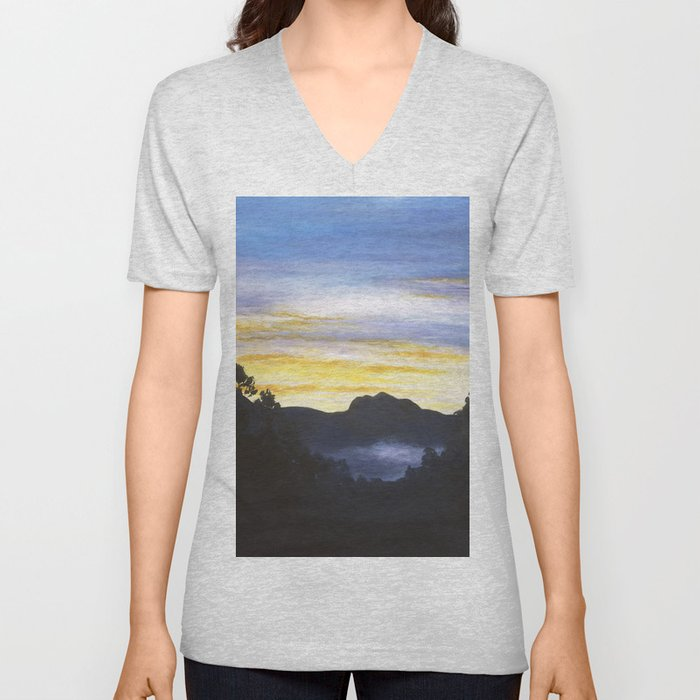 Sunrise Over Sleeping Beauty Unisex V-Neck