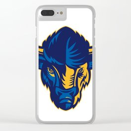American Bison Head Retro Clear iPhone Case