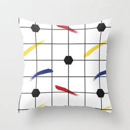 Postmodern Primary Brushstrokes Grid Throw Pillow