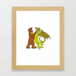 Chinese Dragon Fighting Grizzly Bear Drawing Color Framed Art Print