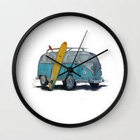 vw bus Wall Clocks featuring VW Bus by AshyGough