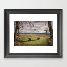 Empty Bench - landscape photography nature grass trees sky blue green love vintage story Framed Art Print