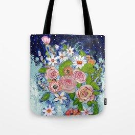 Celestial Sky Flower Garden Tote Bag