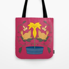 Seal Flower Folk Art Tote Bag
