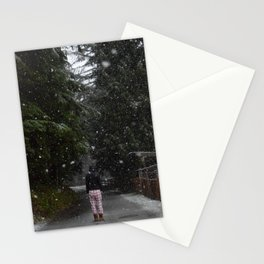 Pajamas in the Snow - Silverdale, Washington State Stationery Cards