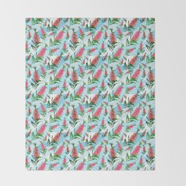 Beautiful Pink Australian Natives on Blue Geometric Background Throw Blanket