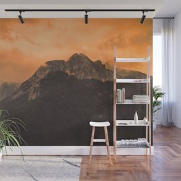 Mountain Landscape - Sunset Orange Sky #decor #society6 #buyart Wall Mural