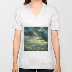 Cloudy Gray Blue Sky Vintage Unisex V-Neck