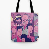 tenenbaums Tote Bags featuring The Royal Tenenbaums by Ale Giorgini