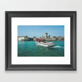 Boat to Sirmione, Italy Framed Art Print