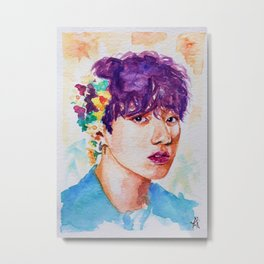 Jungkook et les fleurs Metal Print
