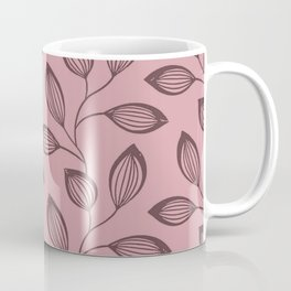 Climbing Leaves In Dusky Copper On Rose Coffee Mug