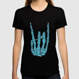 Rock On Skeleton Hand - Blue T-shirt