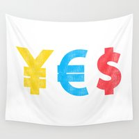 money Wall Tapestries featuring Money Money Money by Picomodi