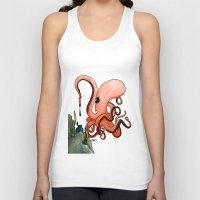writer Tank Tops featuring Octopus Writer by Zekis Art