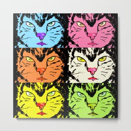 Cat faces with black on Metal Print