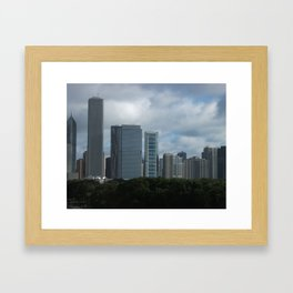 Chicago Skyline, Cloudy Day in Chicago Framed Art Print