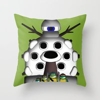 ninja turtles Throw Pillows featuring Turtles by 1982 est. by A.W. Owens