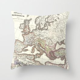 Vintage Map of The Roman Empire (1865) Throw Pillow