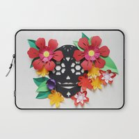 calavera Laptop Sleeves featuring Calavera 1 by Marine Coutroutsios